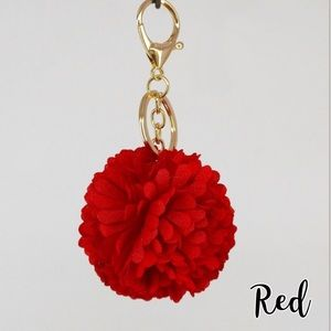 Red Flower Keychain Fob Poof for Purse Decoration
